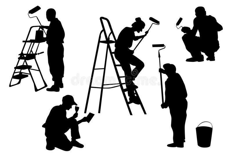 Black Silhouette Of Workers Isolate Stock Image