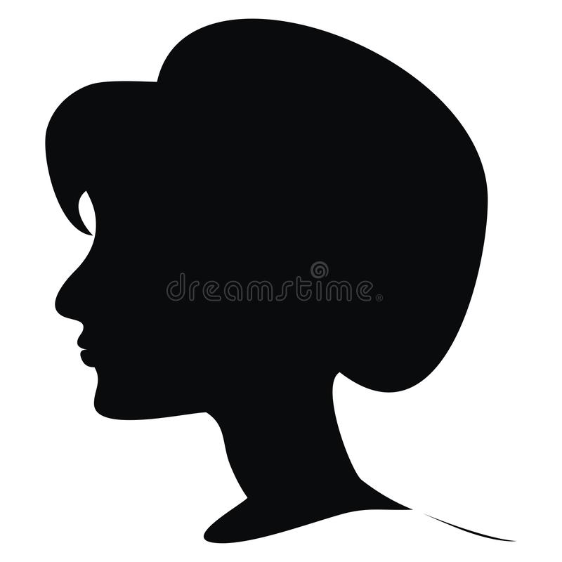 Silhouette of young woman, vector icon stock illustration
