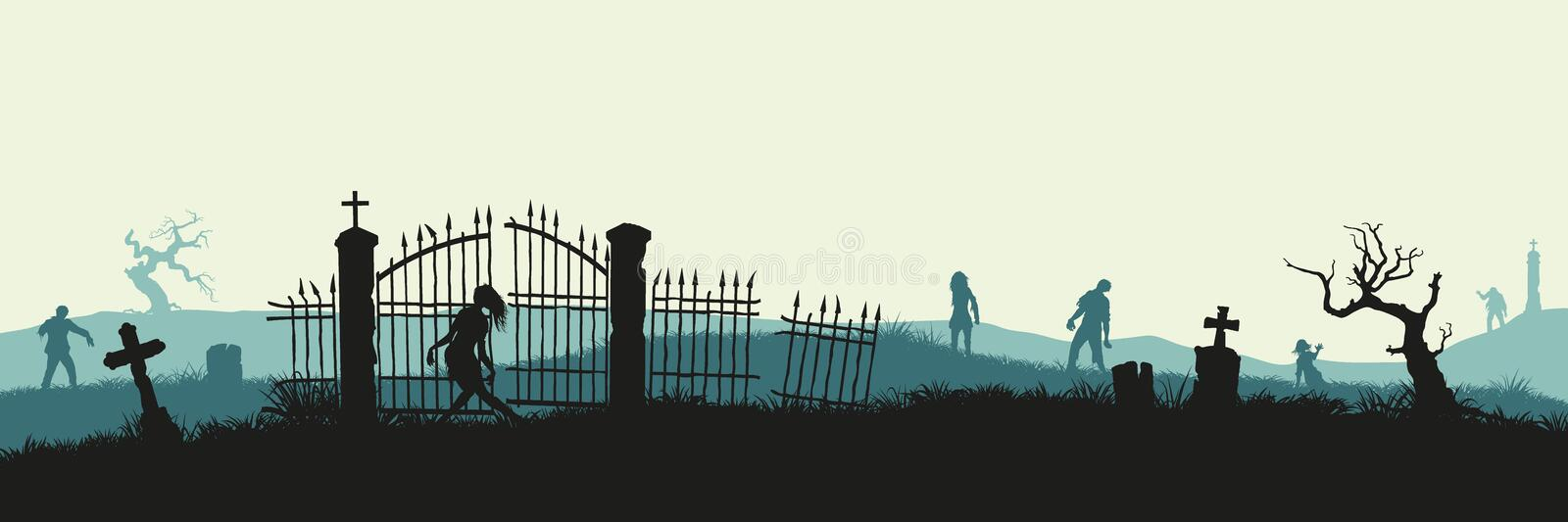 Black silhouette of zombies on cemetery background. Nightmare landscape with dead people. Panorama of undead monster. And gravestone. Halloween vector royalty free illustration