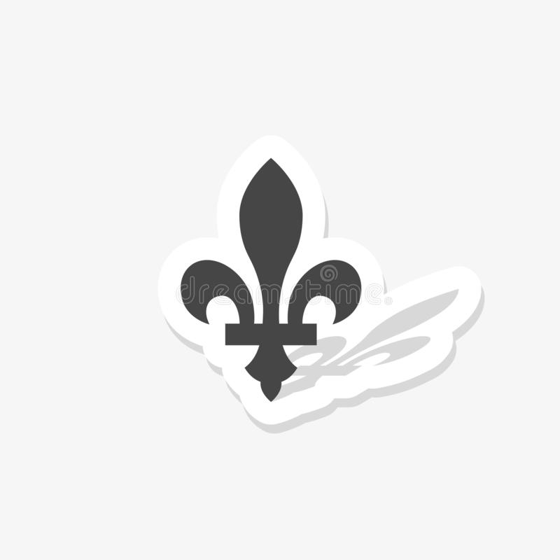 Black silhouetted of Fleur-de-lis sticker isolated on white background. Paper sticker vector illustration