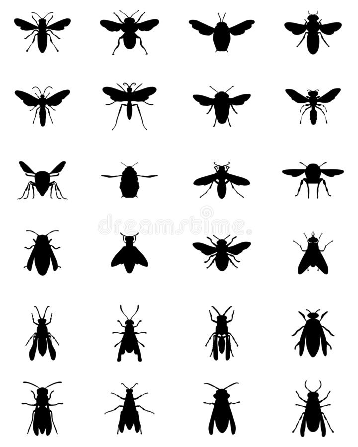 Black silhouettes of bees and wasps. On a white background stock illustration