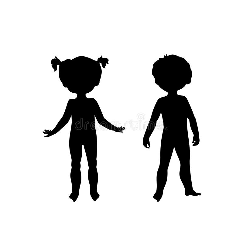 Black Silhouettes Of Cute Kids Stock Vector - Illustration of human ...