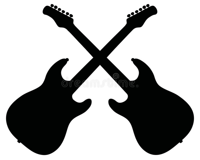 Black silhouettes of electric guitars stock illustration