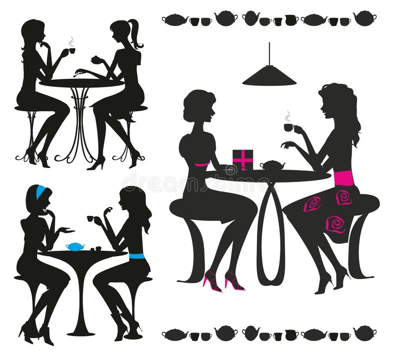 Black Silhouettes Of Girls In Cafe Royalty Free Stock Image