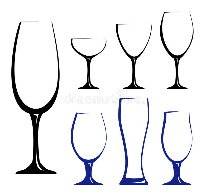Black silhouettes of glasses royalty free illustration