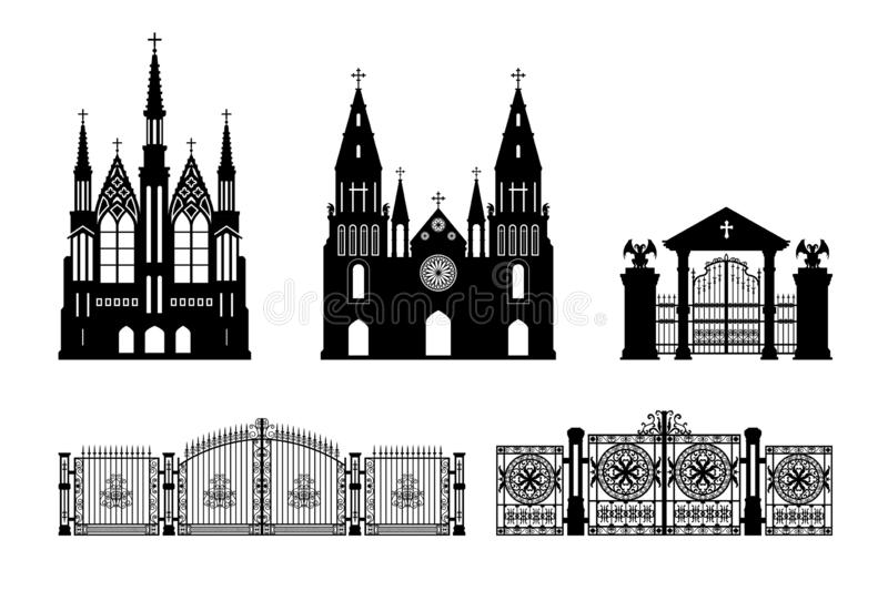 Black silhouettes of gothic church, crypt and gate. Isolated drawing of cathedral build. Fantasy architecture. European medieval landmark. Design element stock illustration