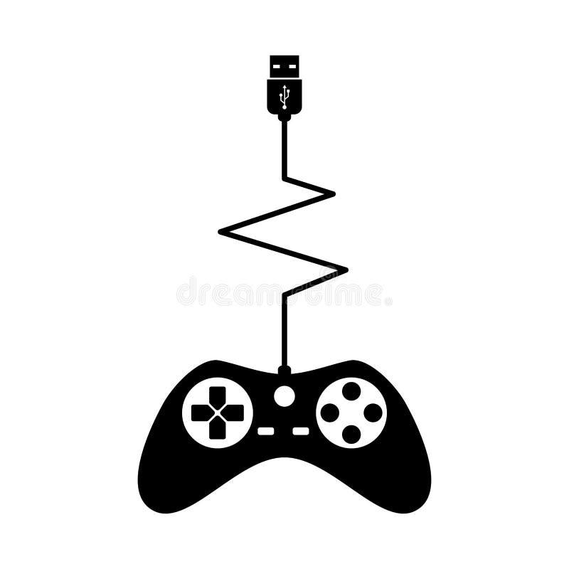 Black Silhouettes Joystick Gamer Isolated White Background Vector illustration. Black Silhouettes Joystick usb Gamer Isolated White Background Vector royalty free illustration