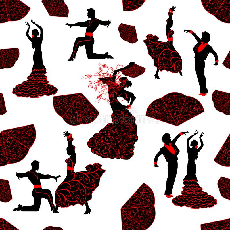 Seamless pattern of silhouettes of dancers Flamenco . Black silhouettes of men and women dancing in Spanish Flamenco dance. The image of silhouettes of dancers royalty free illustration