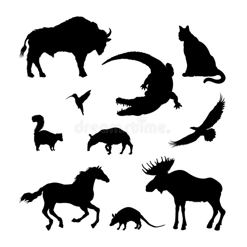 Black silhouettes of North American animal. Isolated image of elk, bison, crocodile on white background. Wildlife vector illustration