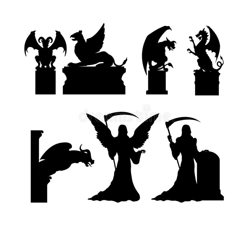 Free Black Silhouettes Of Gothic Statues. Medieval Architecture. Cathedral Sculpture. Cemetery Memorial. Halloween Symbol Stock Photo - 139088100