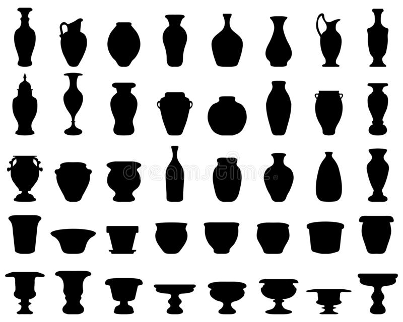 Pottery, jars, bowls, vases. Black silhouettes of pottery, jars, bowls and vases stock illustration