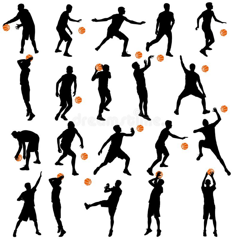 Black silhouettes set of men playing basketball on a white background.  stock illustration