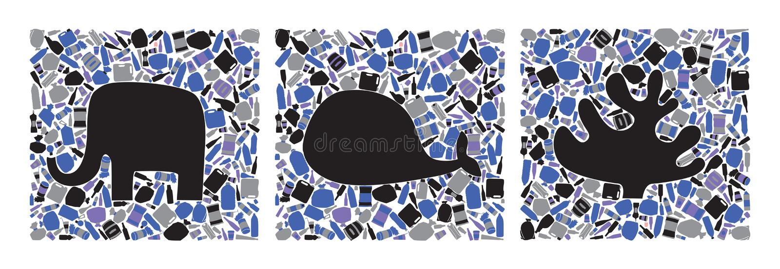 Black silhouettes of whale, elephant and coral surrounded by debris royalty free illustration