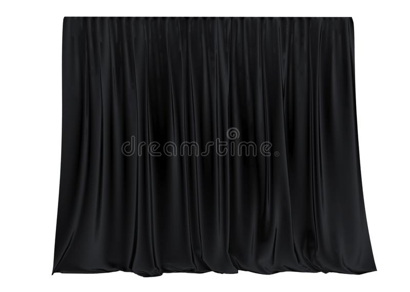 Black silk curtain isolated on white background. 3d render. stock illustration