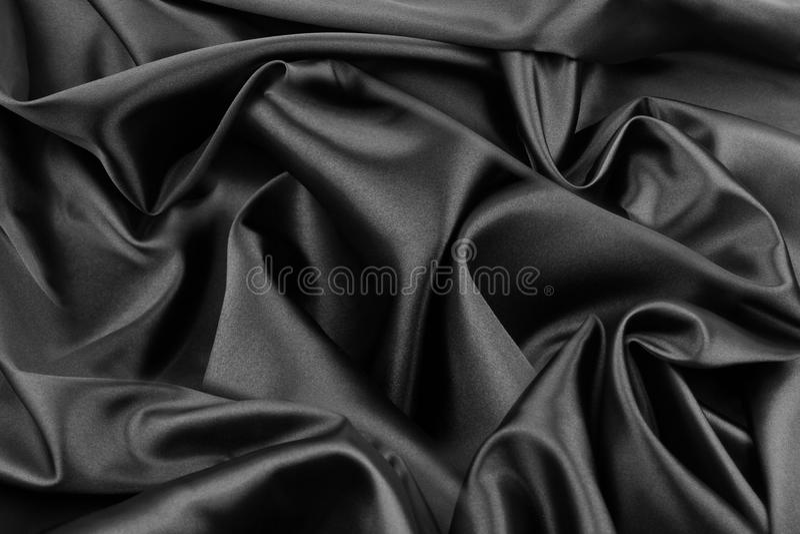 Black silk fabric stock image