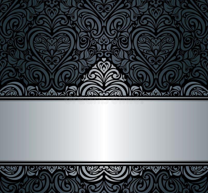 Black & silver vintage invitation background design royalty free illustration