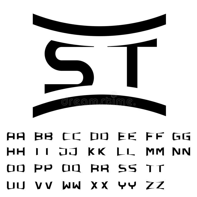 Black simple alphabet initials stock illustration
