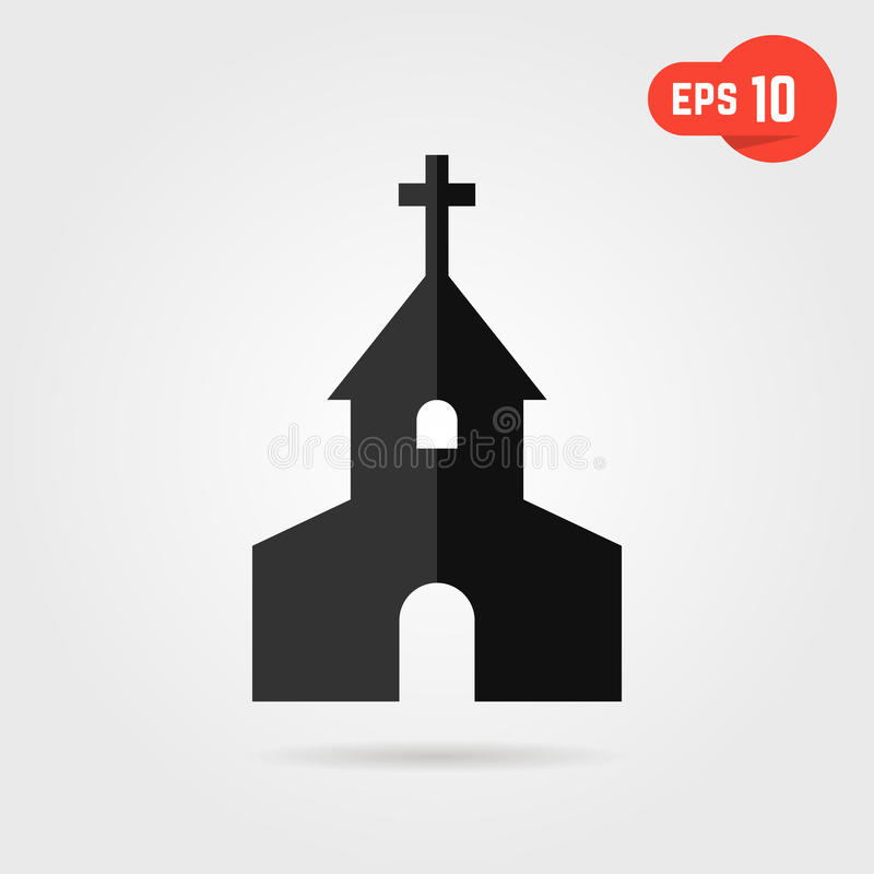 Black simple church with shadow royalty free illustration