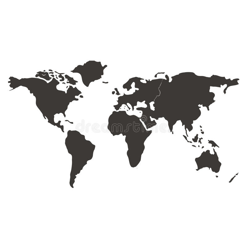 world map black and white simple