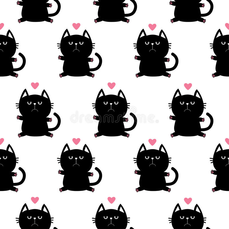 Black sitting cat head with paw print and little pink heart. Cute cartoon character. Baby pet collection. Seamless Pattern stock illustration