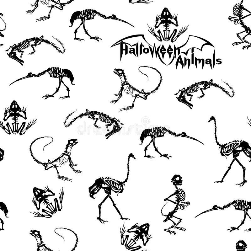 Black skeletons of reptiles, animals and birds on white background. Seamless pattern. vector illustration