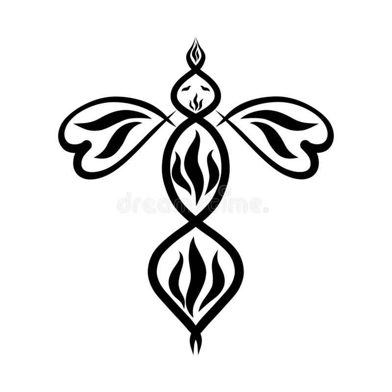 Black sketch of a fire bird with wings in the shape of hearts vector illustration