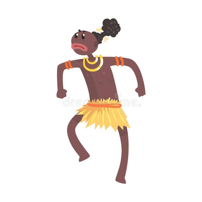 Black skinned man aborigine in angry pose. Indigenous peoples of African or Australian tribe. Dressed in traditional yellow hula skirt. artoon flat vector vector illustration