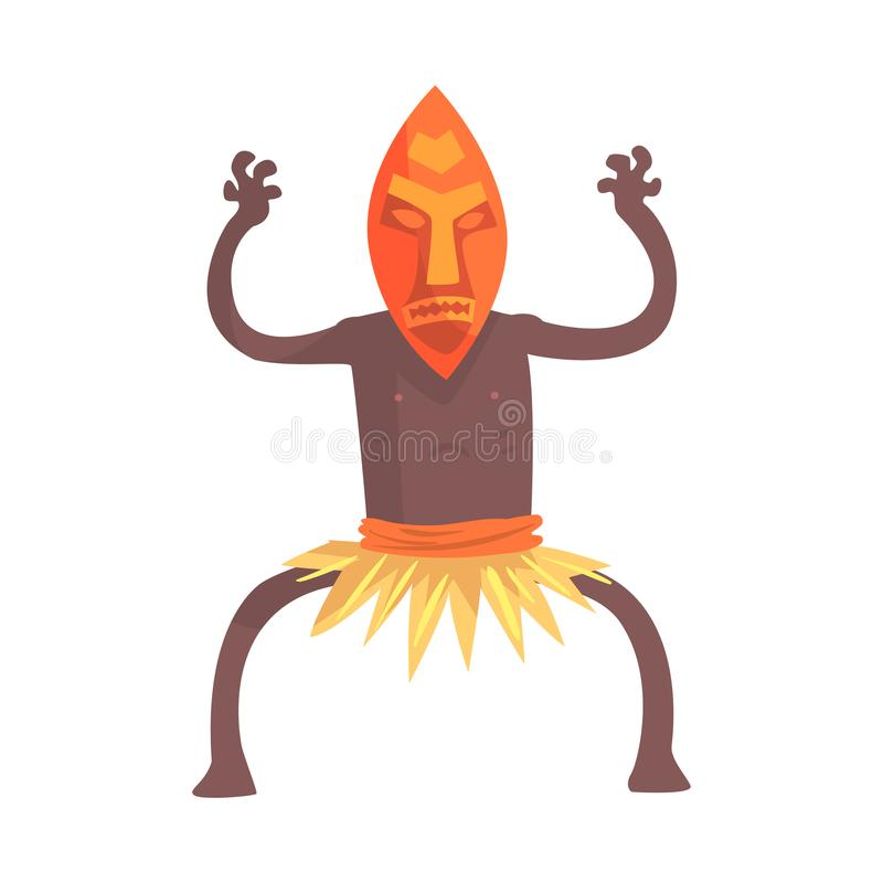 Black skinned man aborigine in tribal mask stands with hands up. Black skinned man aborigine with hands up. Indigenous peoples of African or Australian tribe vector illustration
