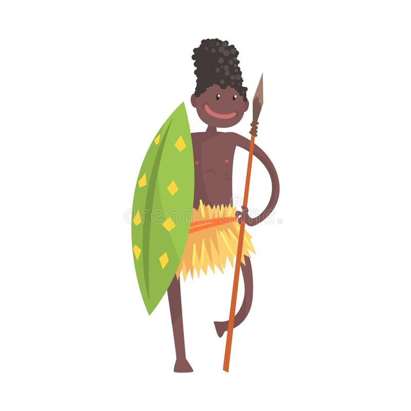 Black skinned man aborigine warrior with spear and shield. Black skinned man aborigine warrior stands with spear and shield. Indigenous peoples of African or vector illustration
