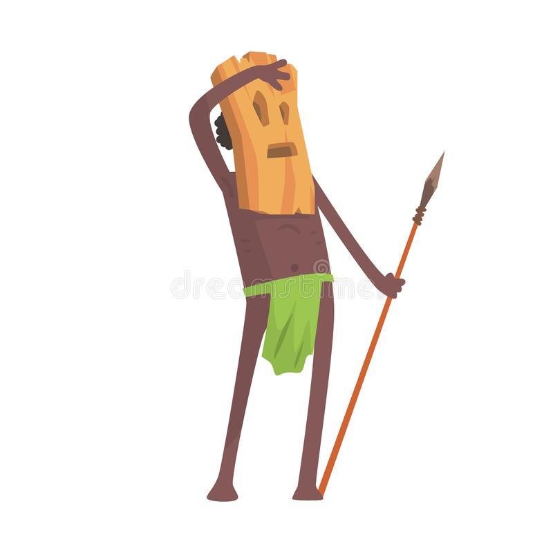 Black skinned man aborigine warrior with weapon and wooden mask. Black skinned man aborigine warrior stands with spear. Indigenous peoples of African or vector illustration