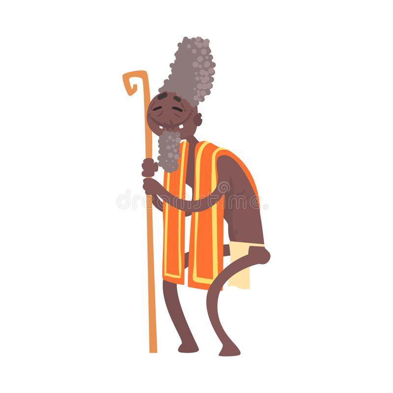 Black skinned toothless elder man aborigine. Cheerful black skinned toothless elder man aborigine with stick. Greybeard in traditional clothes. Indigenous vector illustration