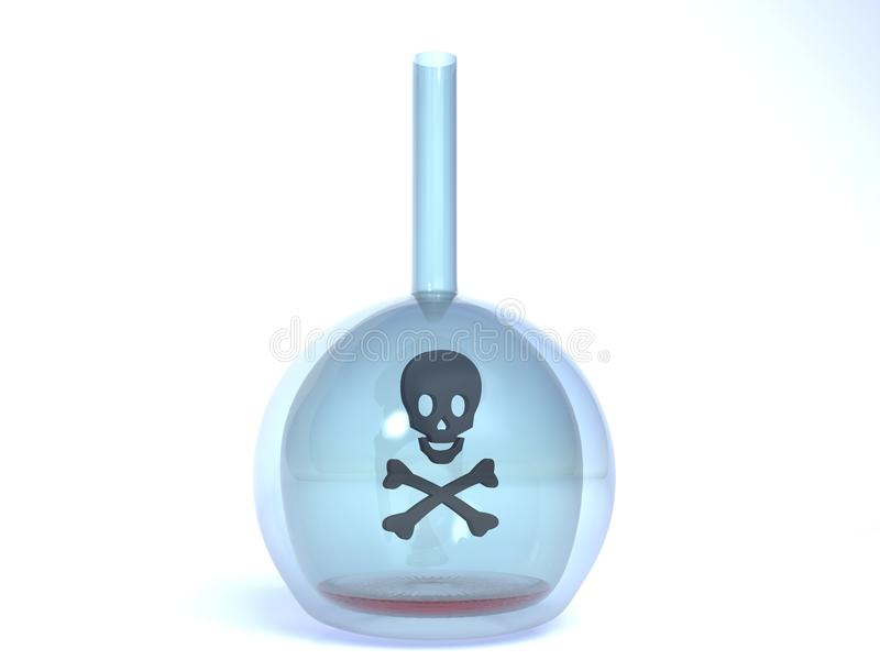Black Skull Symbol of Poison in flask royalty free stock images