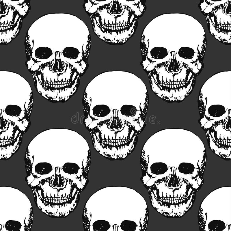 Black skulls print. Skull pattern. Hand drawn swatch for textile, fabric, wrapping. Vector art vector illustration