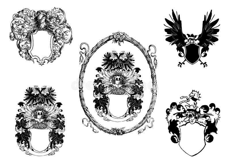 black skyddar vektorwhite royaltyfri illustrationer