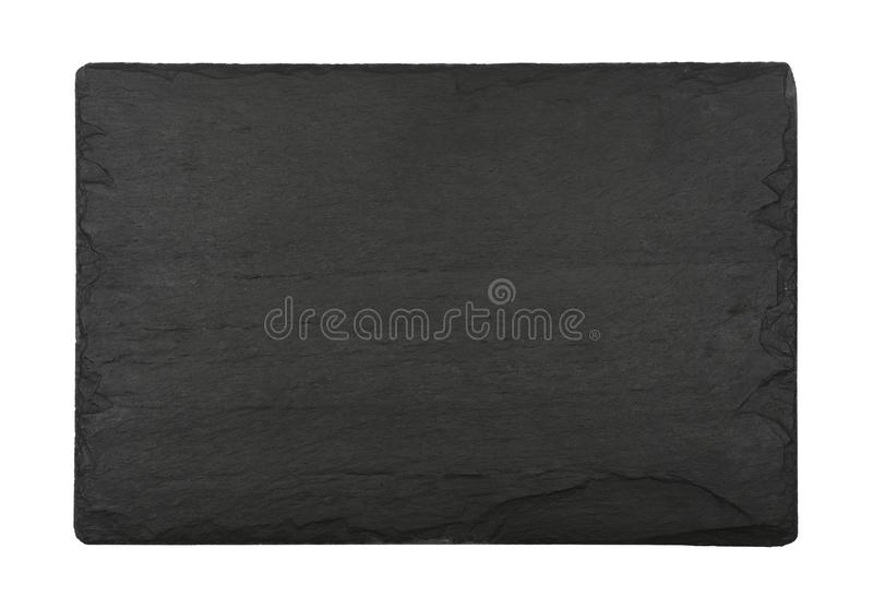 Black slate board isolated on white royalty free stock image