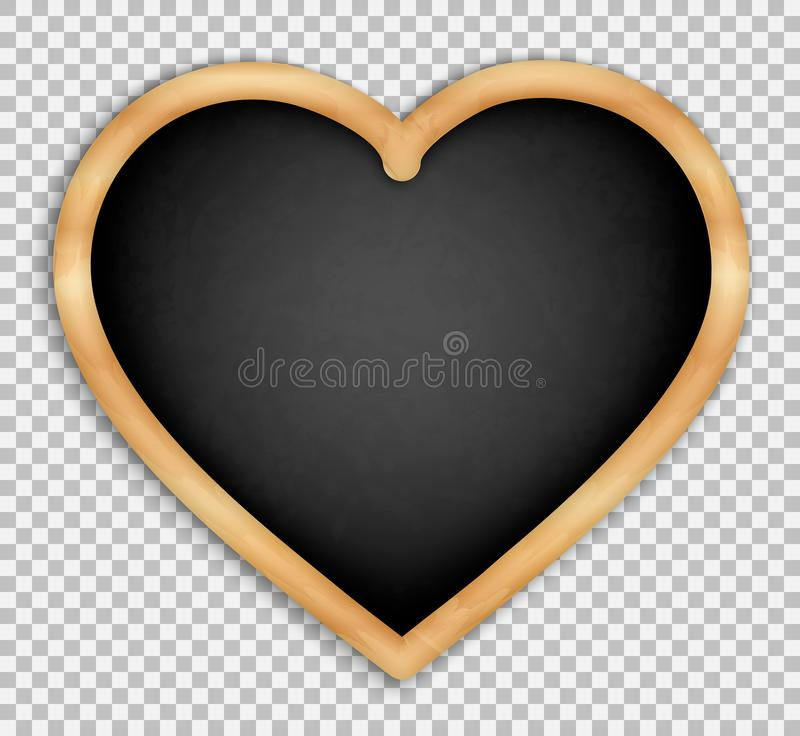 Black slate isolated5. Black board in the shape of a heart. With wooden frame. Menus for cafes and restaurants. Realistic style. Isolated on transparent royalty free illustration