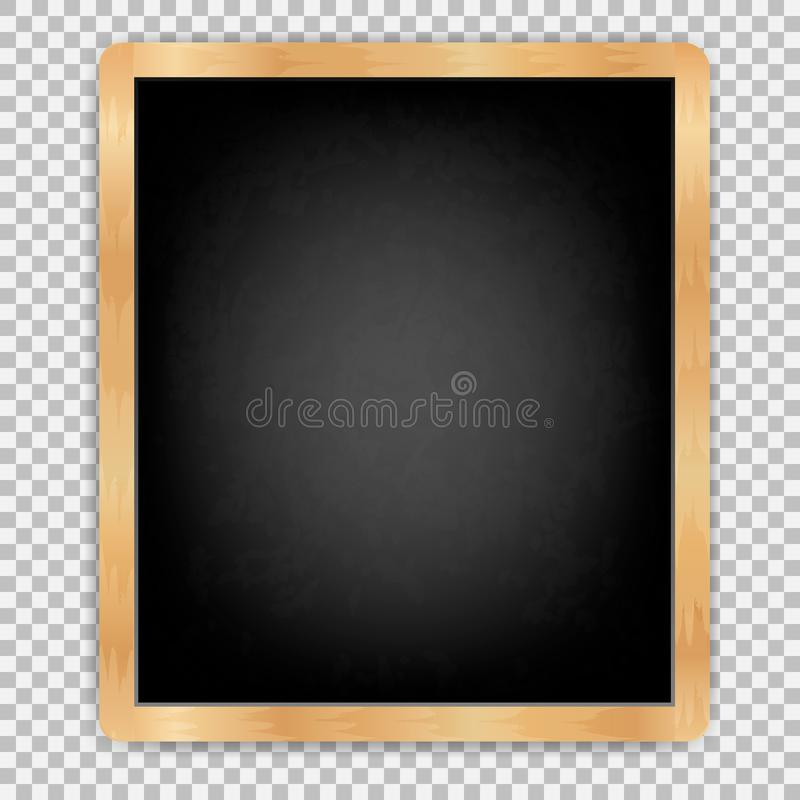 Black slate isolated8. Black board vertical with wooden frame rubbed dirty board Menu for cafe and restaurant. Realistic style. isolated on transparent stock illustration