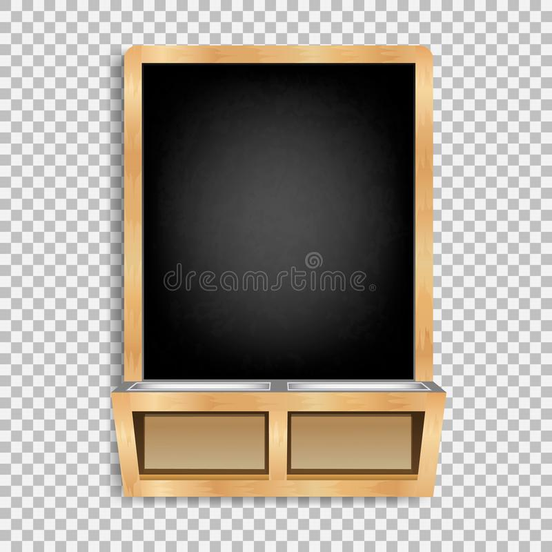 Black slate isolated6. Blackboard with chalk and wooden frame with stand for school supplies. Rubbed and dirty board. Menus for cafes and restaurants. Realistic stock illustration
