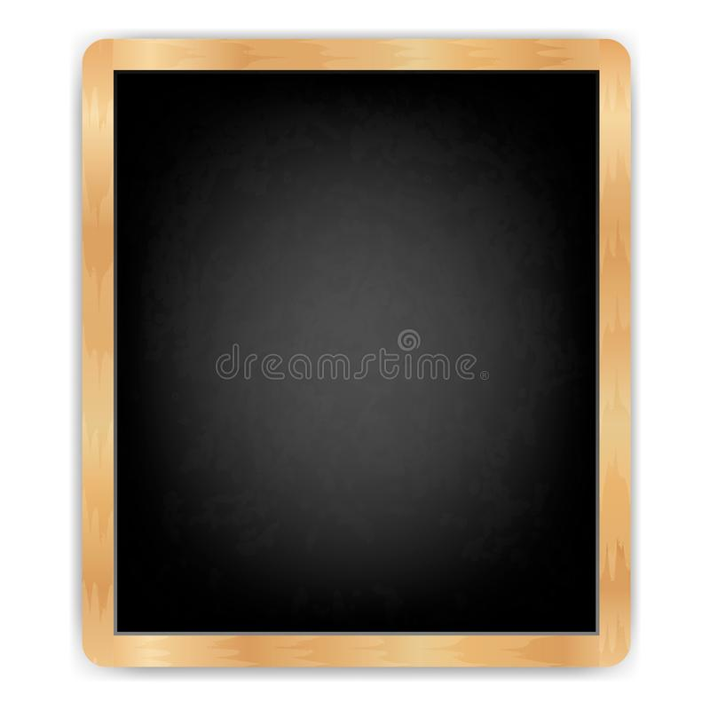 Black slate isolated. Black board vertical with wooden frame rubbed by dirty blackboard The menu for cafe and restaurant. Realistic style.isolated on white stock illustration