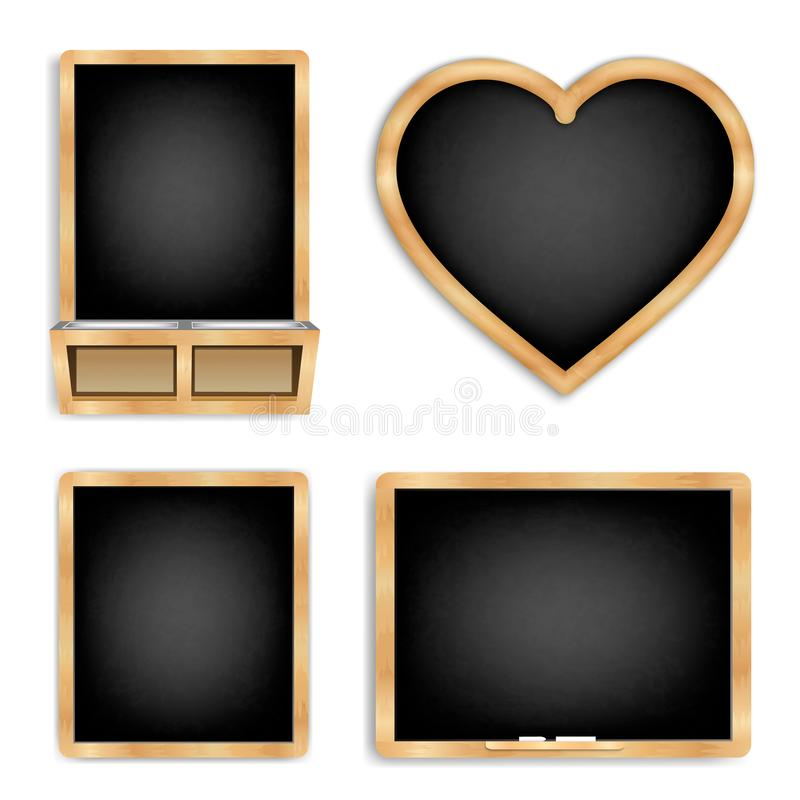 Black slate set 1. Set of black boards for chalk. With a wooden frame, rubbed dirty board, The menu for cafe and restaurant.Realistic style. Isolated on white vector illustration