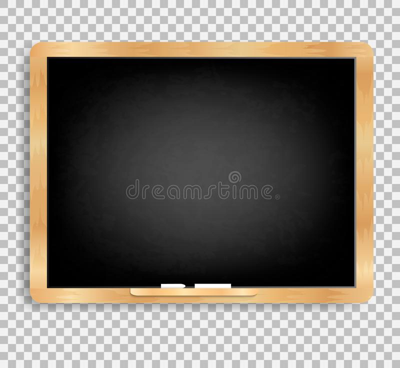 Black slate vector on a transparent background. Blackboard with grated and dirty wooden board with chalk and wooden frame. Menus for cafes and restaurants royalty free illustration
