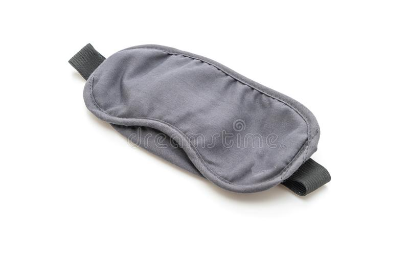 Black sleeping eye mask. Isolated on white background royalty free stock photo