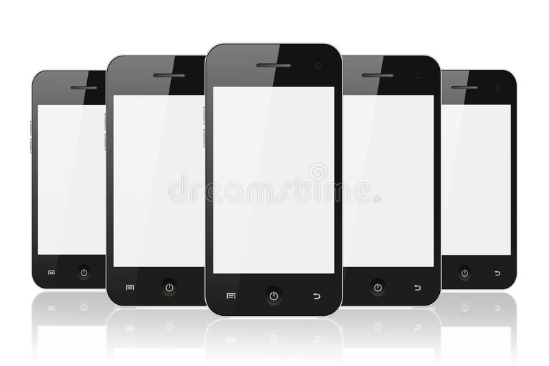 Black Smart Phones With Reflection Royalty Free Stock Photos