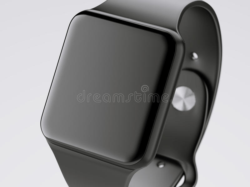 Black smart watch isolated on white. 3d rendering stock images
