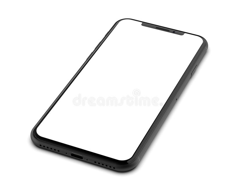 Black smartphone with blank screen, isolated on white background. Black smartphone with blank screen, isolated on white background royalty free stock image