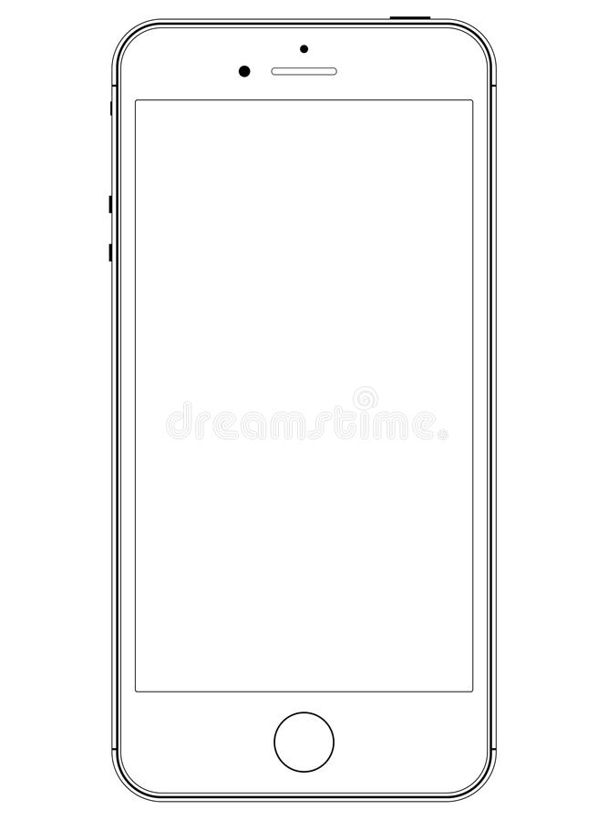 Black Smartphone with a blank screen to present your application design. royalty free illustration