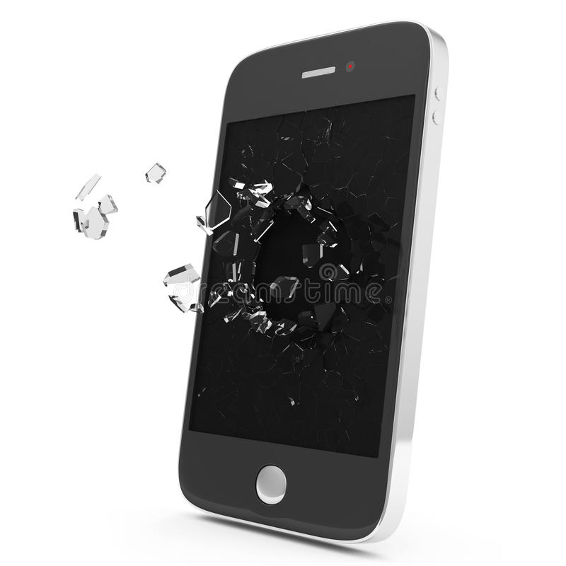 Black Smartphone with Broken Display. On white background vector illustration