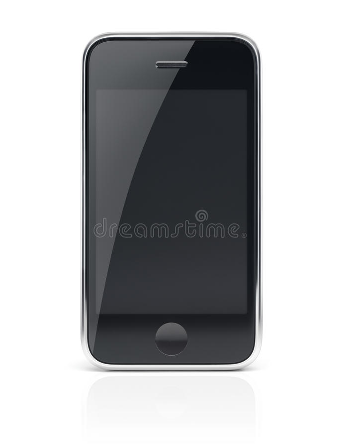 Black Smartphone Cell phone. Black modern smartphone, cell phone with clear screen with clipping path on white background royalty free stock photo
