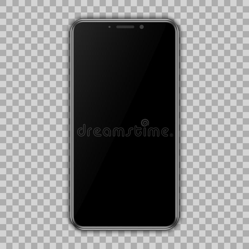 Black smartphone with empty touch screen, new model mobile with transparent background - vector vector illustration