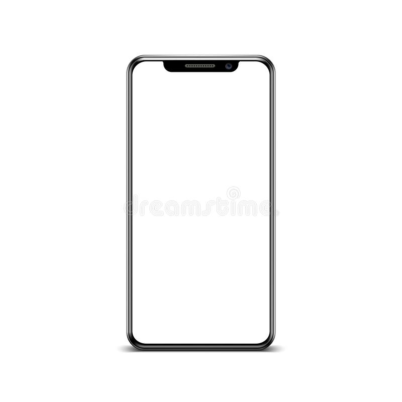 Black smartphone with empty touch screen, new model mobile - vector stock illustration